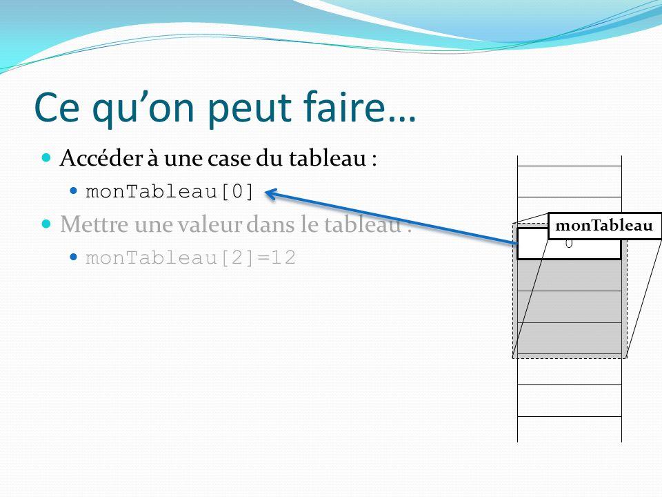 Ce quon peut faire… Accéder à une case du tableau : monTableau[0] Mettre une valeur dans le tableau : monTableau[2]=12 0 monTableau