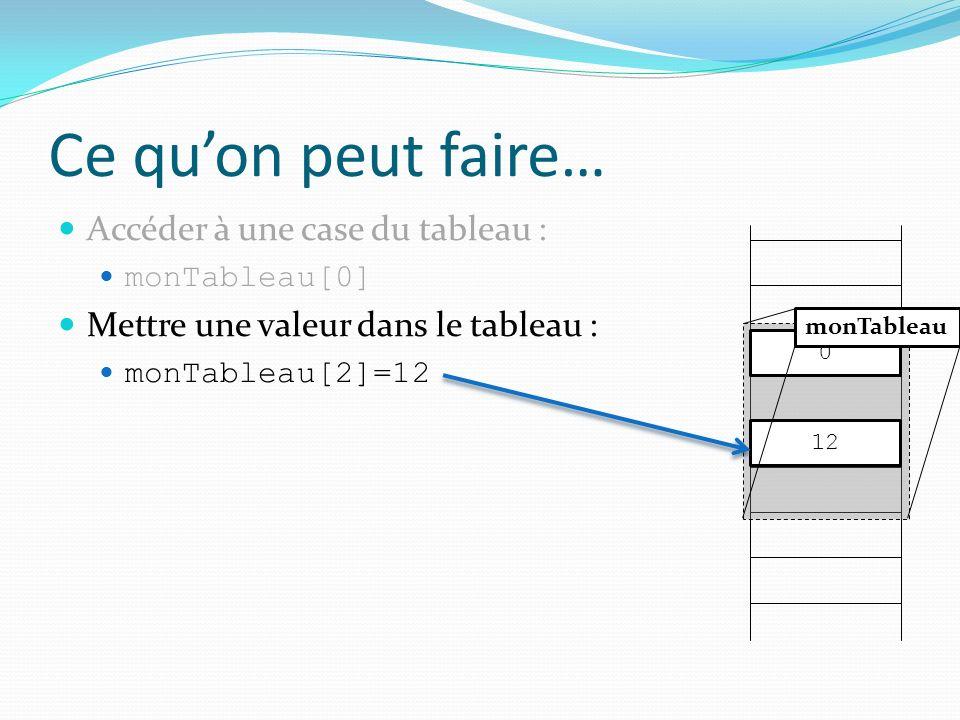 Ce quon peut faire… Accéder à une case du tableau : monTableau[0] Mettre une valeur dans le tableau : monTableau[2]=12 0 monTableau 12