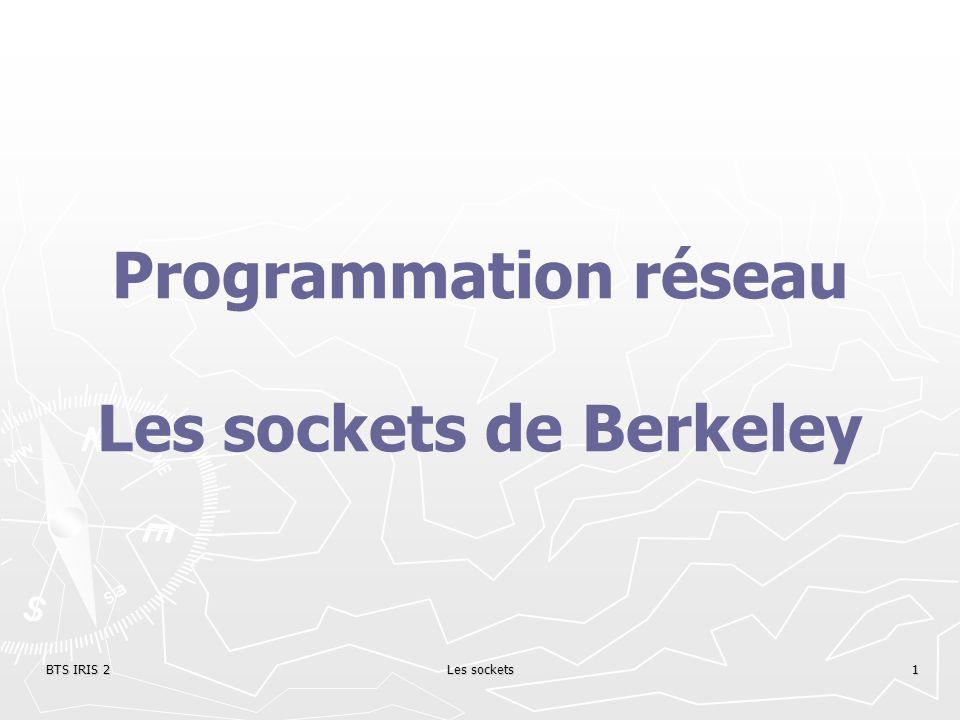 BTS IRIS 2Les sockets1 Programmation réseau Les sockets de Berkeley
