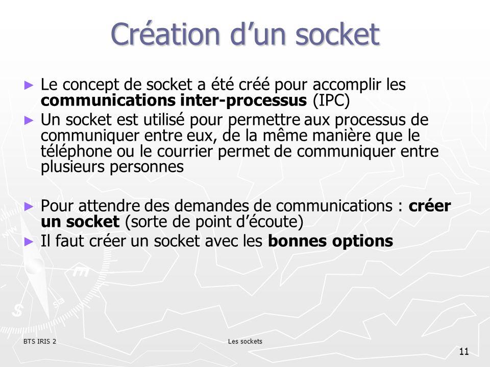 BTS IRIS 2Les sockets 11 Création dun socket Le concept de socket a été créé pour accomplir les communications inter-processus (IPC) Un socket est uti
