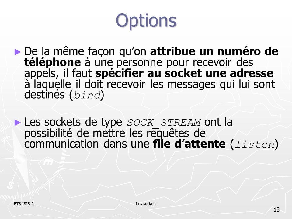 BTS IRIS 2Les sockets 13 Options De la même façon quon attribue un numéro de téléphone à une personne pour recevoir des appels, il faut spécifier au s