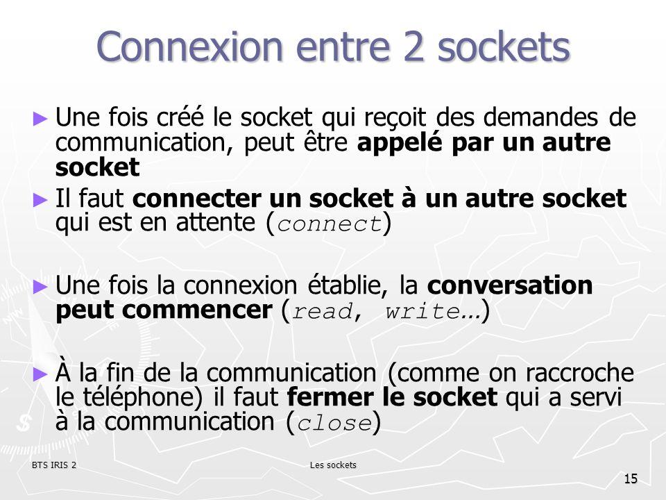 BTS IRIS 2Les sockets 15 Connexion entre 2 sockets Une fois créé le socket qui reçoit des demandes de communication, peut être appelé par un autre soc