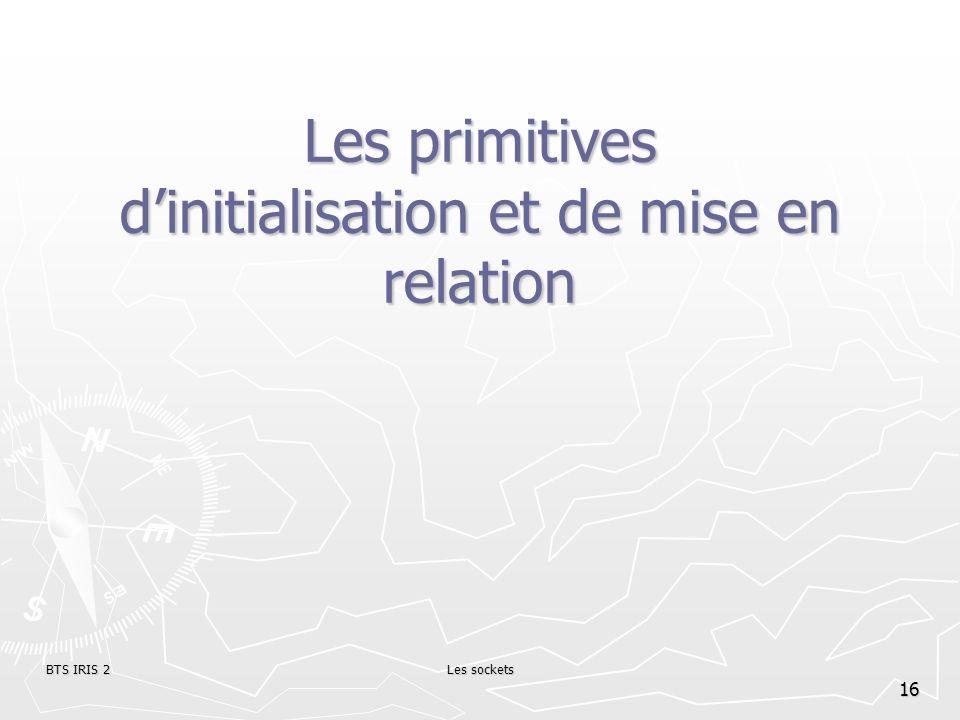BTS IRIS 2Les sockets 16 Les primitives dinitialisation et de mise en relation