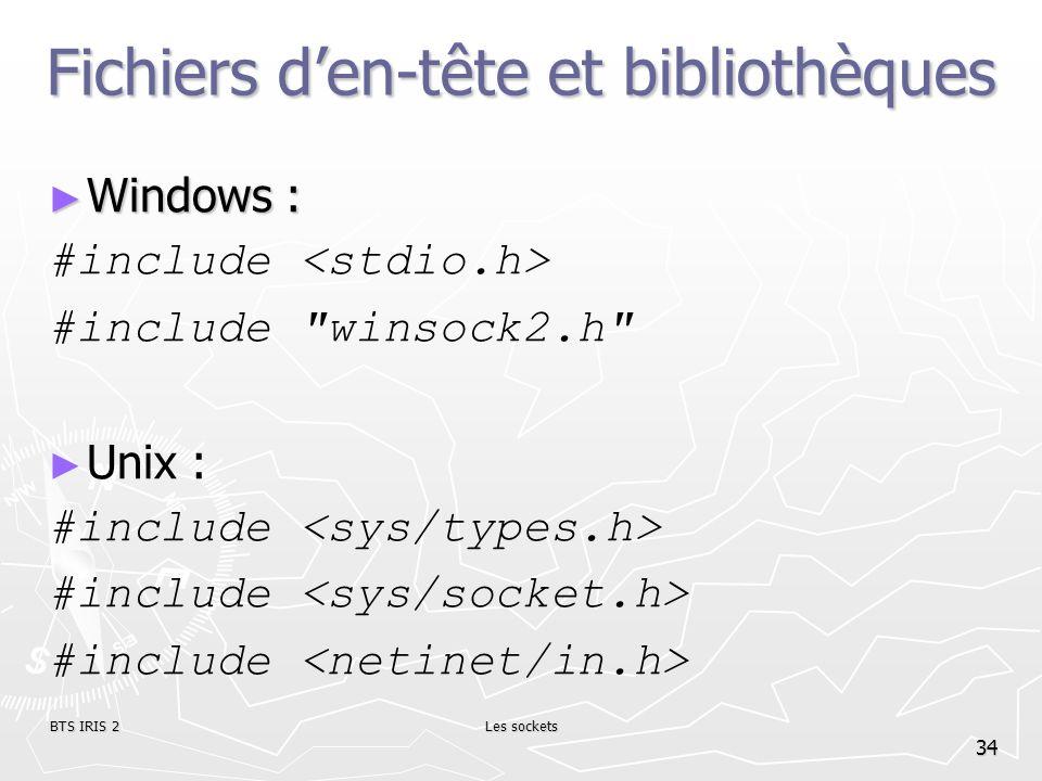 BTS IRIS 2Les sockets 34 Fichiers den-tête et bibliothèques Windows : Windows : #include #include
