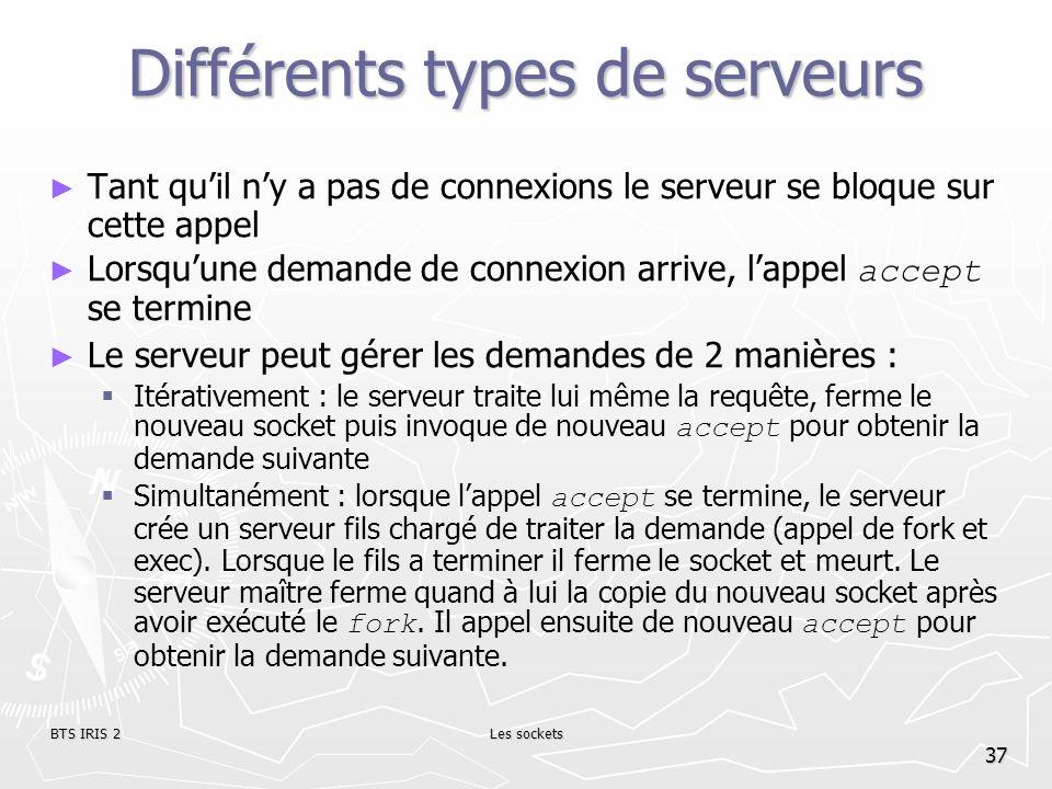 BTS IRIS 2Les sockets 37 Différents types de serveurs Tant quil ny a pas de connexions le serveur se bloque sur cette appel Lorsquune demande de conne