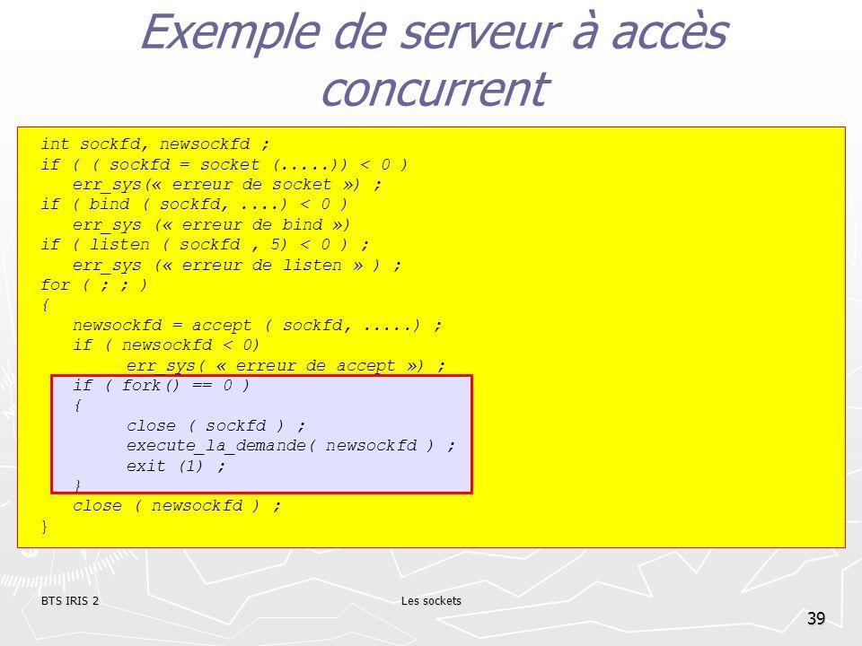 BTS IRIS 2Les sockets 39 Exemple de serveur à accès concurrent int sockfd, newsockfd ; if ( ( sockfd = socket (.....)) < 0 ) err_sys(« erreur de socke