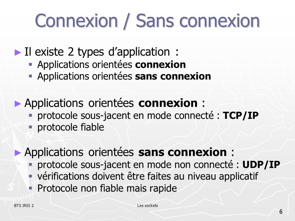 BTS IRIS 2Les sockets 7 Mode de connexion Le mode connecté : Le mode connecté : communication téléphonique communication téléphonique protocole TCP.
