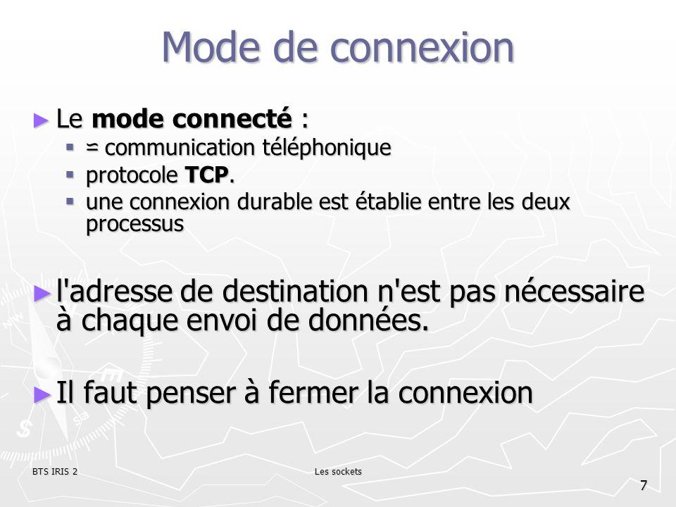 BTS IRIS 2Les sockets 8 Mode de connexion Le mode non connecté Le mode non connecté communication par courrier communication par courrier protocole UDP protocole UDP nécessite l adresse de destination à chaque envoi nécessite l adresse de destination à chaque envoi aucun accusé de réception n est donné.