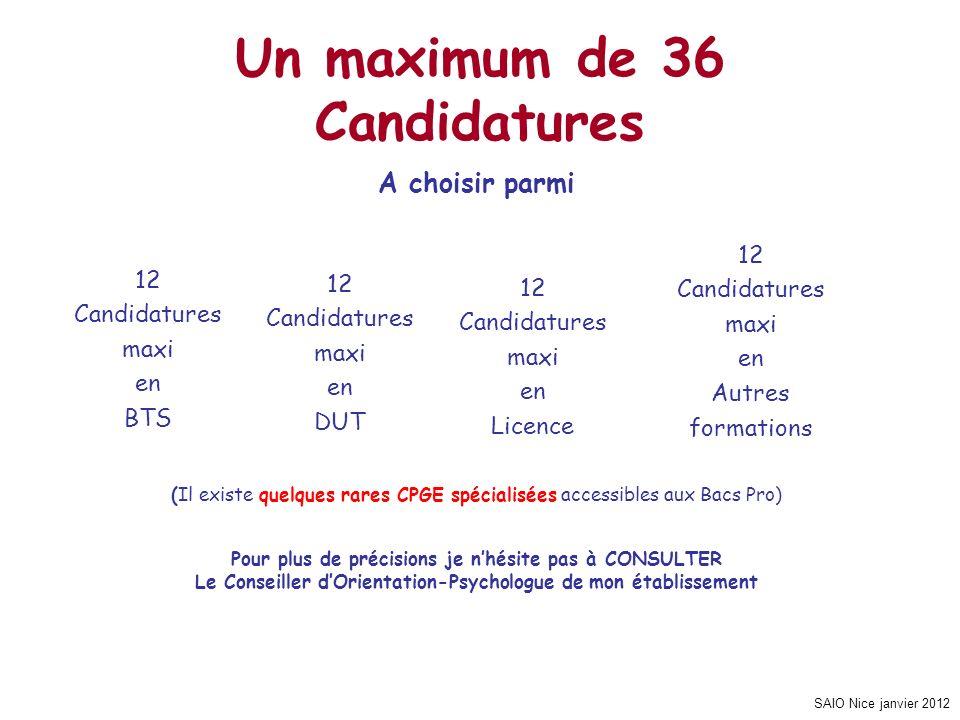 SAIO Nice janvier 2012 Un maximum de 36 Candidatures A choisir parmi (Il existe quelques rares CPGE spécialisées accessibles aux Bacs Pro) Pour plus d