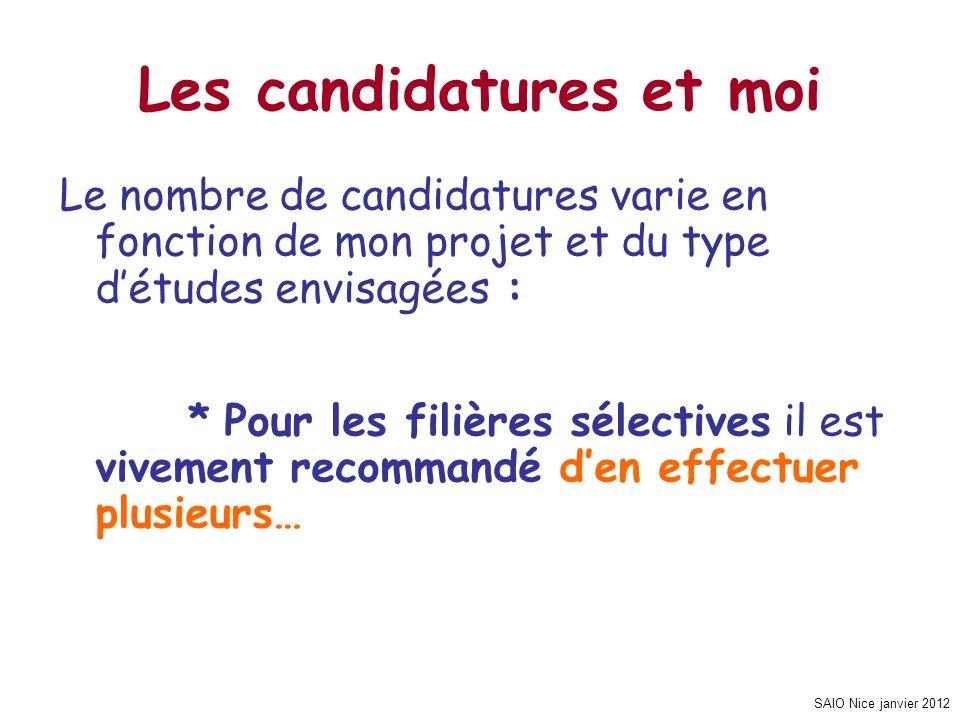SAIO Nice janvier 2012 Les candidatures et moi Le nombre de candidatures varie en fonction de mon projet et du type détudes envisagées : * Pour les fi