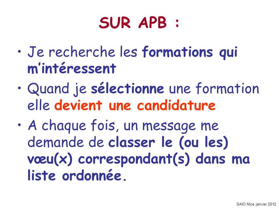 SAIO Nice janvier 2012 Je recherche les formations qui mintéressent Quand je sélectionne une formation elle devient une candidature A chaque fois, un