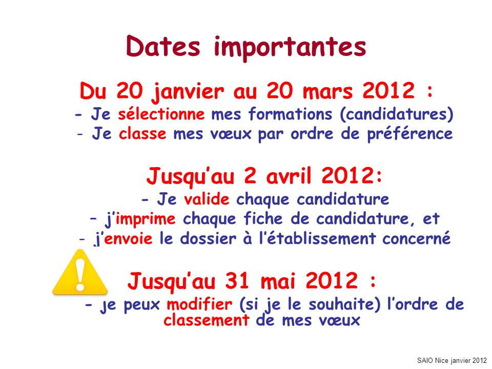 SAIO Nice janvier 2012 Du 20 janvier au 20 mars 2012 : - Je sélectionne mes formations (candidatures) -Je classe mes vœux par ordre de préférence Jusq