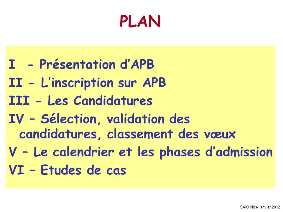 SAIO Nice janvier 2012 I - Présentation dAPB II - Linscription sur APB III - Les Candidatures IV – Sélection, validation des candidatures, classement