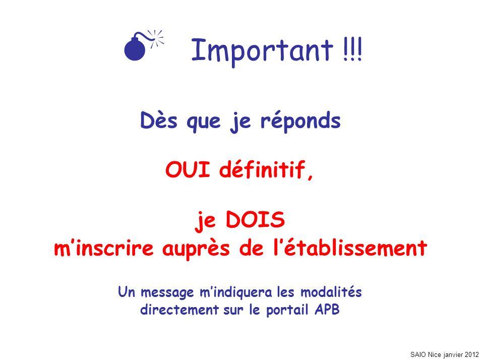 SAIO Nice janvier 2012 Important !!! Dès que je réponds OUI définitif, je DOIS minscrire auprès de létablissement Un message mindiquera les modalités