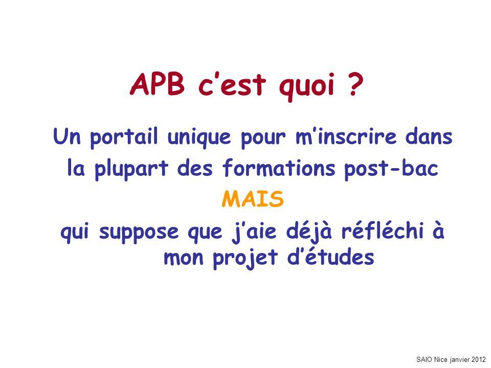 SAIO Nice janvier 2012 APB, pour quoi faire .
