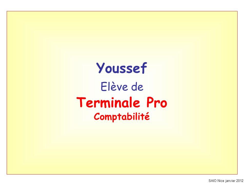 SAIO Nice janvier 2012 Youssef Elève de Terminale Pro Comptabilité