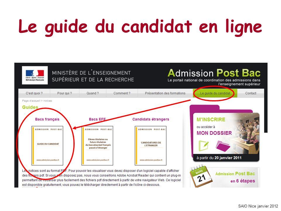 SAIO Nice janvier 2012 V - LE CALENDRIER ET LES PHASES DADMISSION