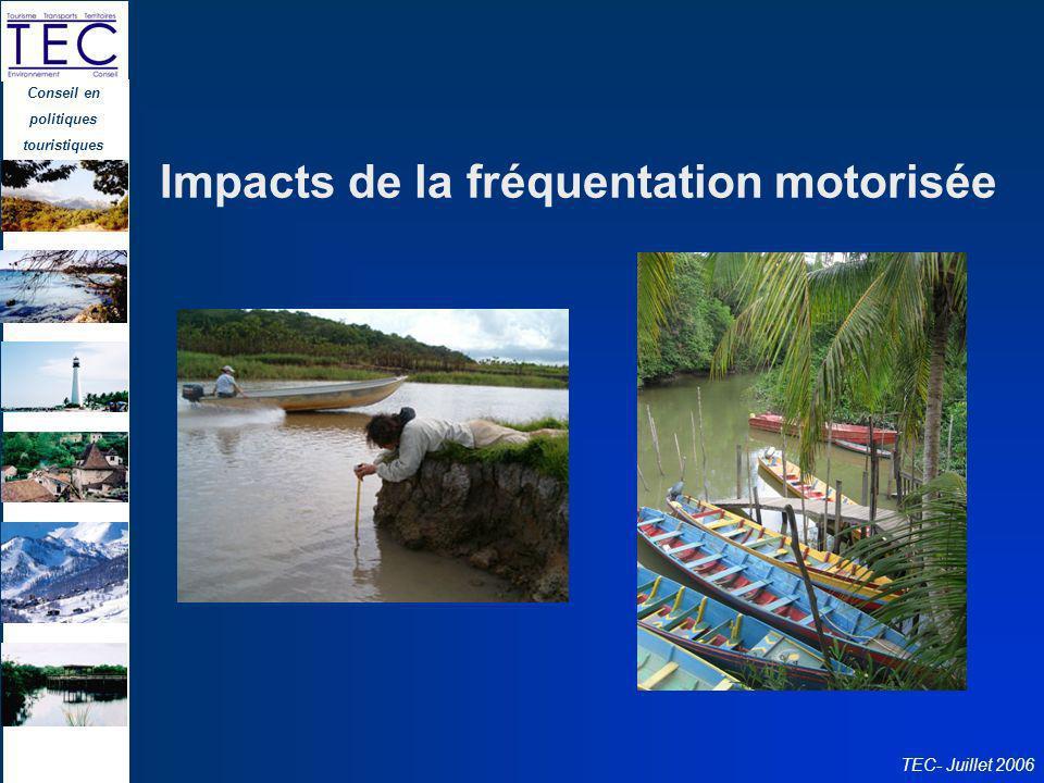 Conseil en politiques touristiques TEC- Juillet 2006 Impacts de la fréquentation motorisée