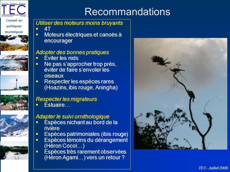 Conseil en politiques touristiques TEC- Juillet 2006 Recommandations Utiliser des moteurs moins bruyants 4T Moteurs électriques et canoës à encourager
