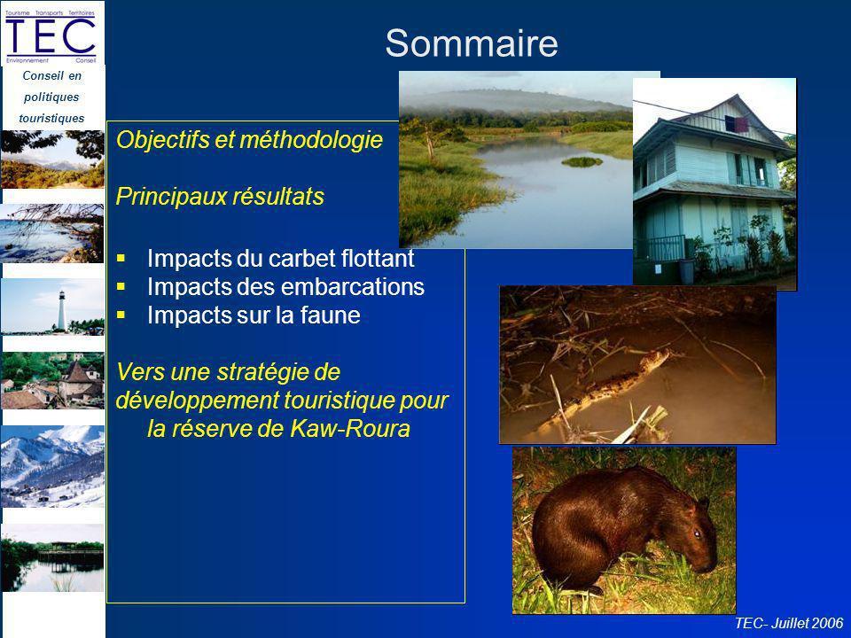 Conseil en politiques touristiques TEC- Juillet 2006 Sommaire Objectifs et méthodologie Principaux résultats Impacts du carbet flottant Impacts des em