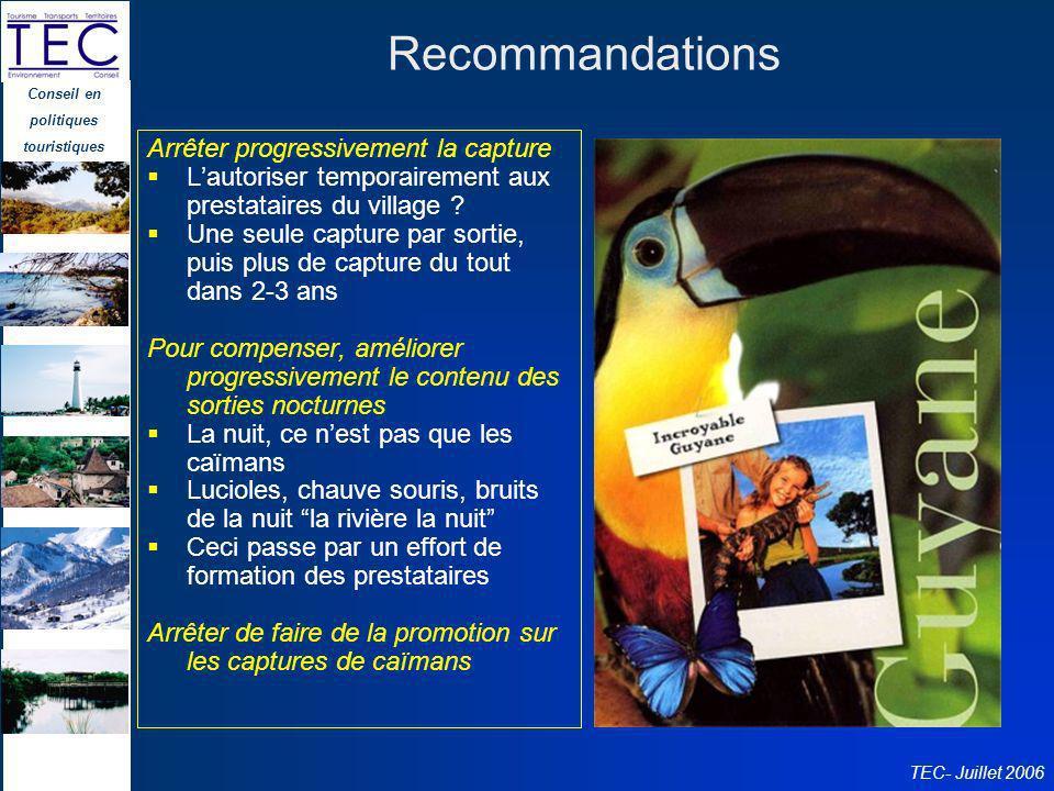Conseil en politiques touristiques TEC- Juillet 2006 Recommandations Arrêter progressivement la capture Lautoriser temporairement aux prestataires du