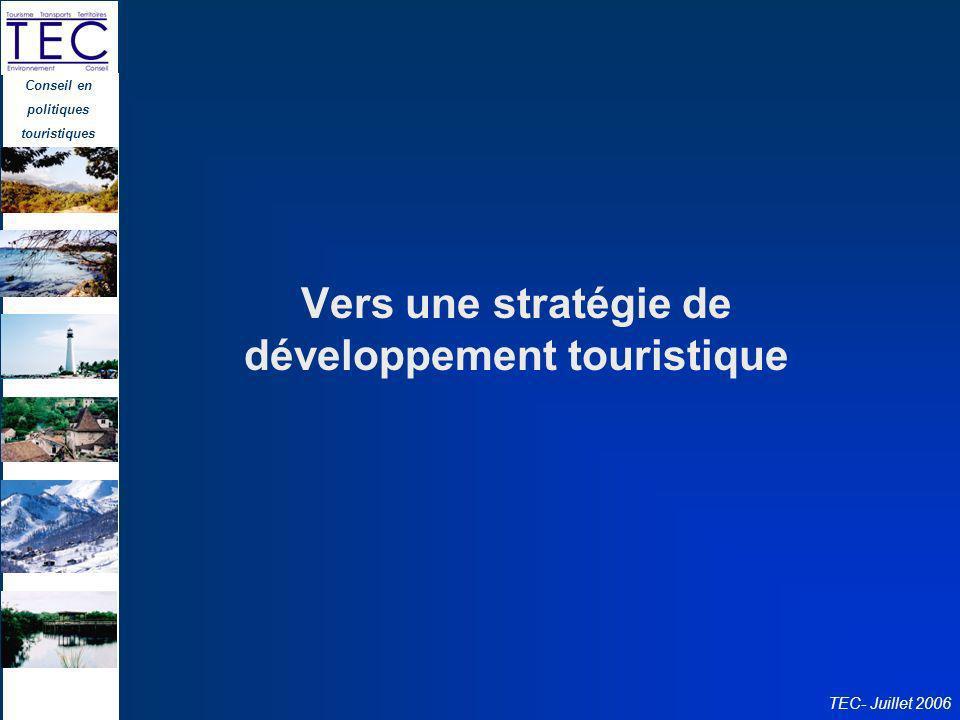 Conseil en politiques touristiques TEC- Juillet 2006 Vers une stratégie de développement touristique