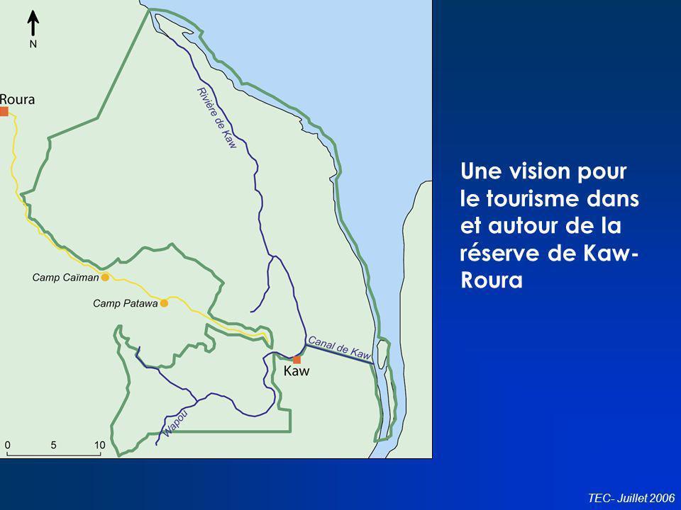 Conseil en politiques touristiques TEC- Juillet 2006 Une vision pour le tourisme dans et autour de la réserve de Kaw- Roura