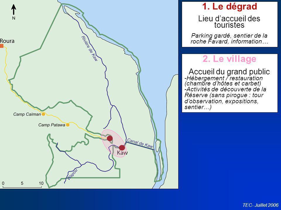Conseil en politiques touristiques TEC- Juillet 2006 1. Le dégrad Lieu daccueil des touristes Parking gardé, sentier de la roche Favard, information…