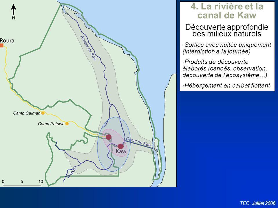 Conseil en politiques touristiques TEC- Juillet 2006 4. La rivière et la canal de Kaw Découverte approfondie des milieux naturels -Sorties avec nuitée