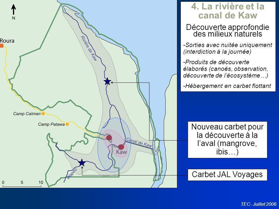Conseil en politiques touristiques TEC- Juillet 2006 Carbet JAL Voyages Nouveau carbet pour la découverte à la laval (mangrove, ibis…) 4. La rivière e