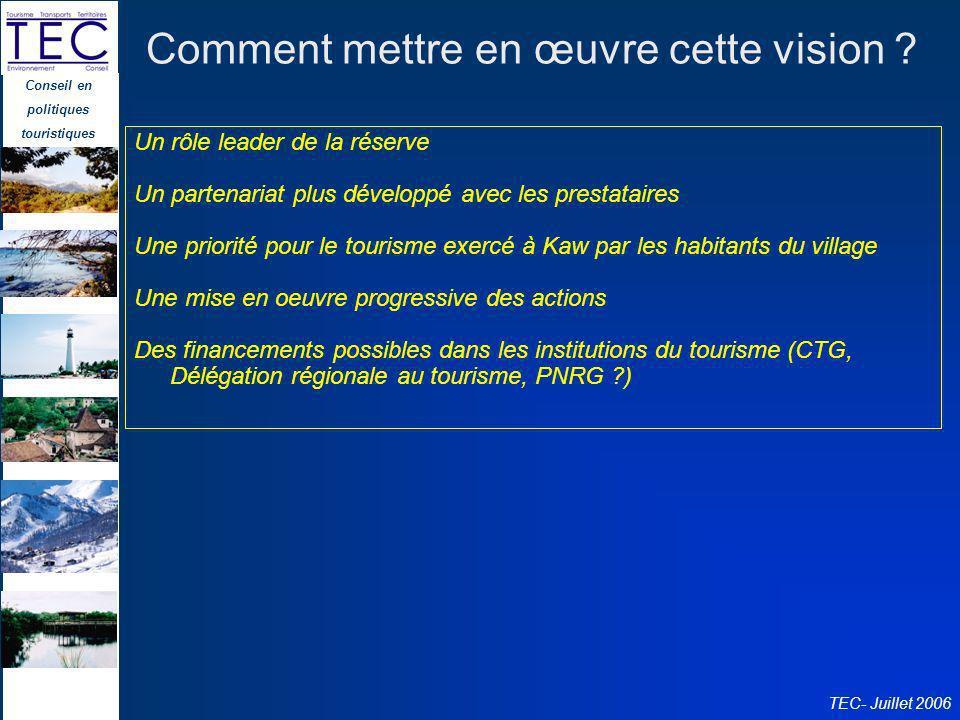 Conseil en politiques touristiques TEC- Juillet 2006 Comment mettre en œuvre cette vision ? Un rôle leader de la réserve Un partenariat plus développé