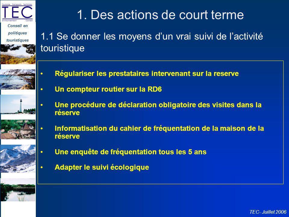 Conseil en politiques touristiques TEC- Juillet 2006 1. Des actions de court terme Régulariser les prestataires intervenant sur la reserve Un compteur