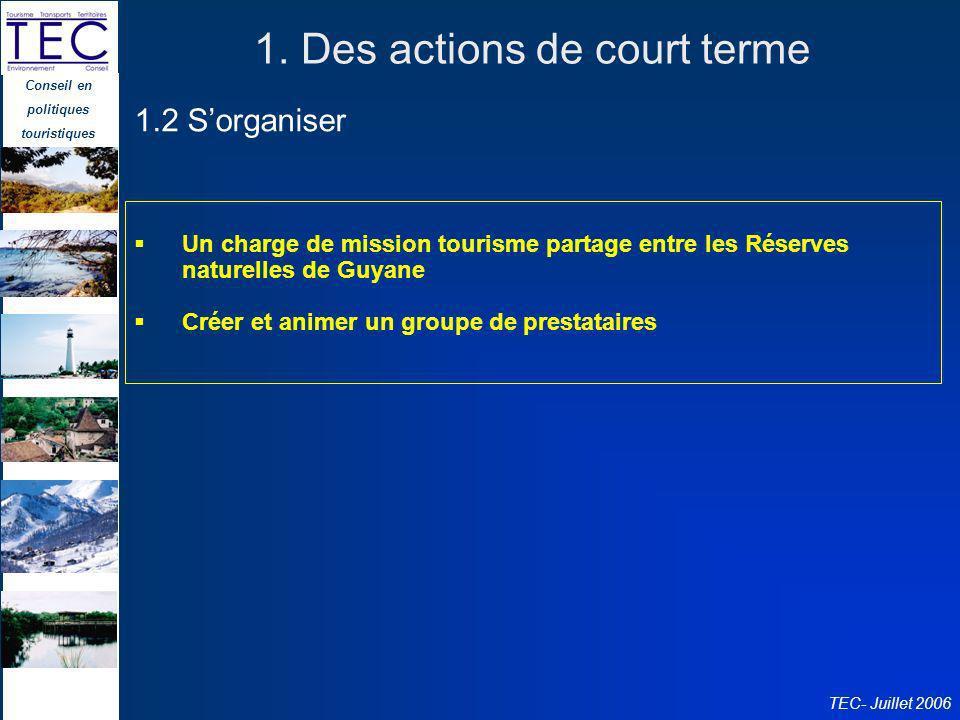 Conseil en politiques touristiques TEC- Juillet 2006 1. Des actions de court terme Un charge de mission tourisme partage entre les Réserves naturelles