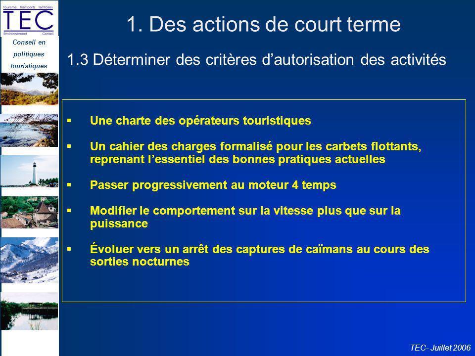 Conseil en politiques touristiques TEC- Juillet 2006 1. Des actions de court terme Une charte des opérateurs touristiques Un cahier des charges formal