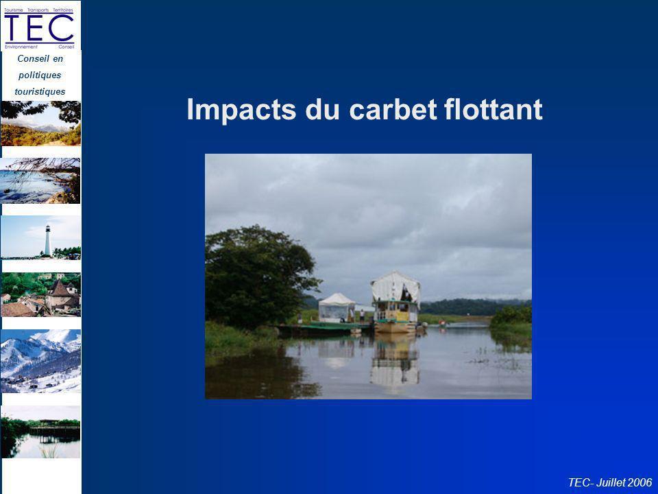 Conseil en politiques touristiques TEC- Juillet 2006 Impacts du carbet flottant