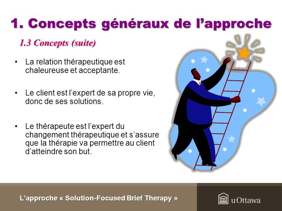 1. Concepts généraux de lapproche La thérapie se concentre sur le développement des solutions du client. (Institute for Solution Focused Therapy). Le