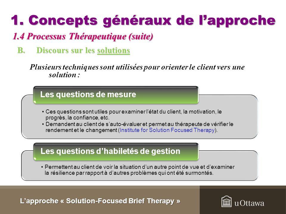 1. Concepts généraux de lapproche ExceptionCompétenceDéconstructionChangement de contexte (Archer & McCarthy, 2007) Lapproche « Solution-Focused Brief