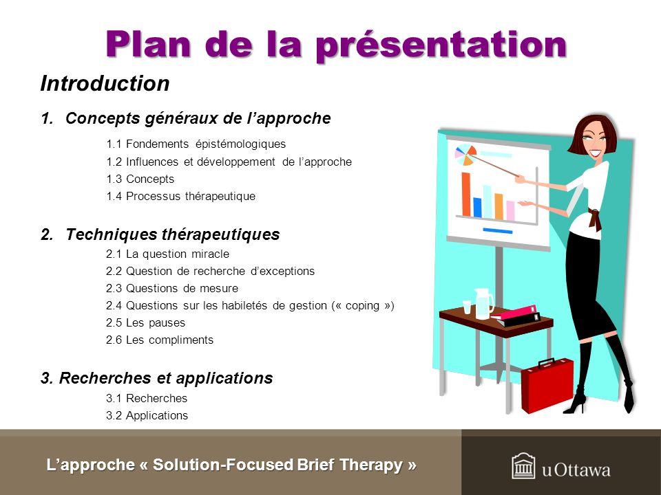 Plan de la présentation Introduction 1.Concepts généraux de lapproche 1.1 Fondements épistémologiques 1.2 Influences et développement de lapproche 1.3 Concepts 1.4 Processus thérapeutique 2.