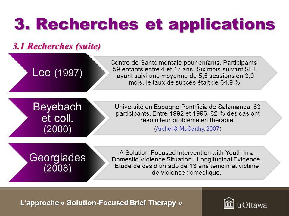 3. Recherches et applications Il existe peu de donnés concernant lefficacité de cette approche. La thérapie brève peut être éclectique et certaines te