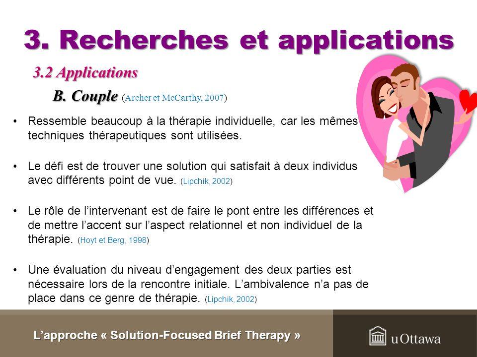3. Recherches et applications Deux façons de travailler avec un groupe Lapproche « Solution-Focused Brief Therapy » 3.2 Applications Tous les clients