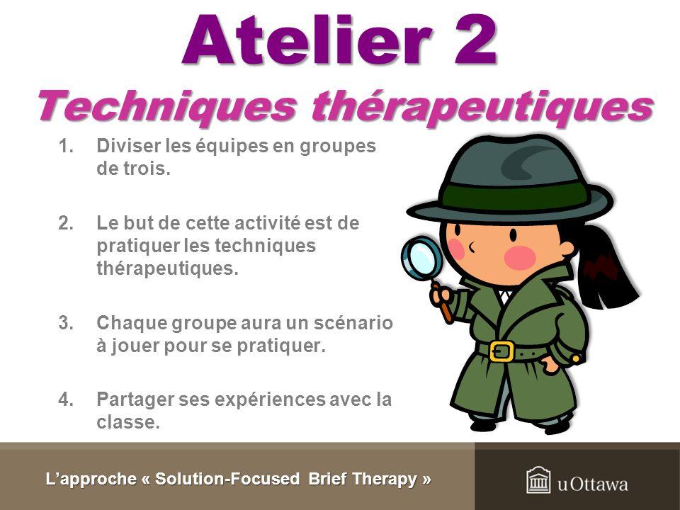 Atelier 1 Vidéo 1.Regarder la vidéo. 2.Remplir le formulaire. 3.Partager des opinions. Lapproche « Solution-Focused Brief Therapy »