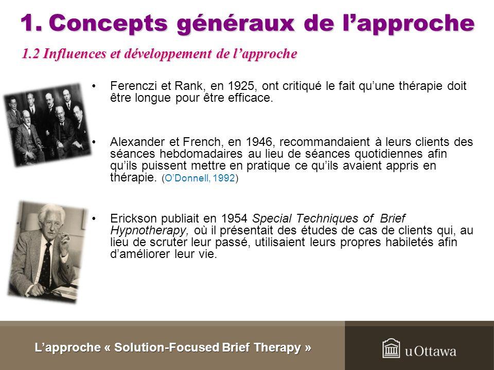 1.Concepts généraux de lapproche Ferenczi et Rank, en 1925, ont critiqué le fait quune thérapie doit être longue pour être efficace.