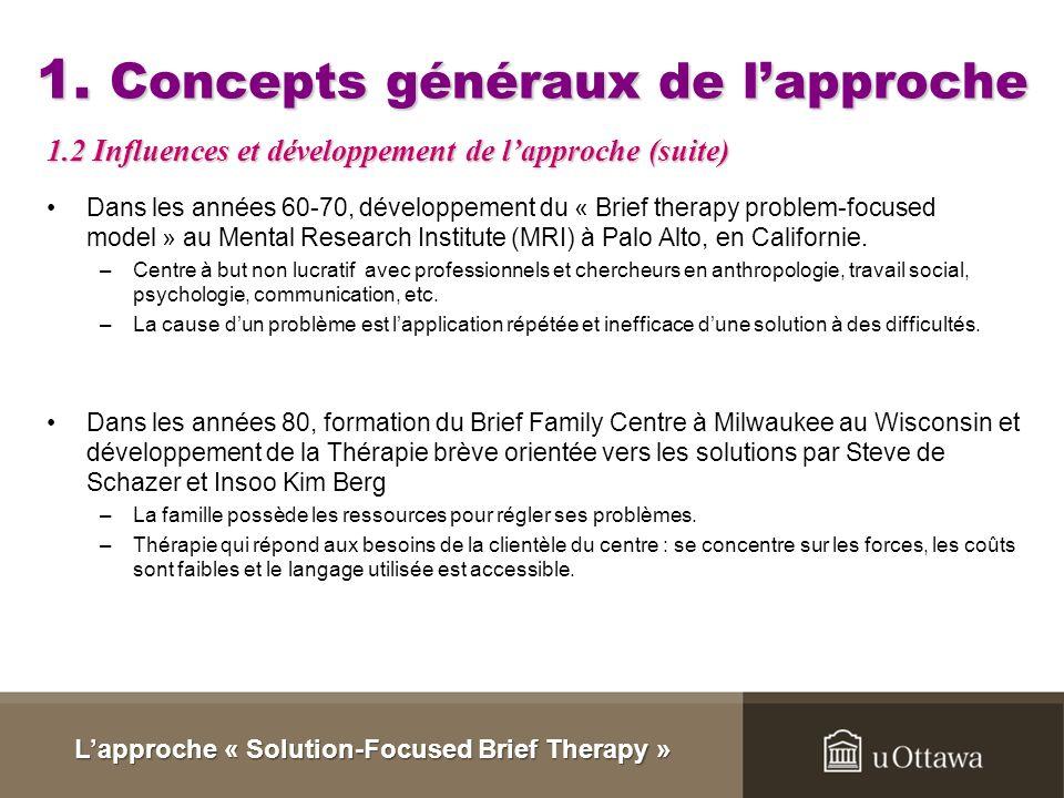 1.Concepts généraux de lapproche Ferenczi et Rank, en 1925, ont critiqué le fait quune thérapie doit être longue pour être efficace. Alexander et Fren