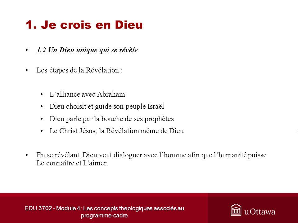 EDU 3702 - Module 4: Les concepts théologiques associés au programme-cadre 1. Je crois en Dieu 1.2 Un Dieu unique qui se révèle Les étapes de la Révél