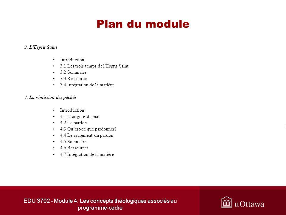 EDU 3702 - Module 4: Les concepts théologiques associés au programme-cadre Plan du module 3. LEsprit Saint Introduction 3.1 Les trois temps de lEsprit