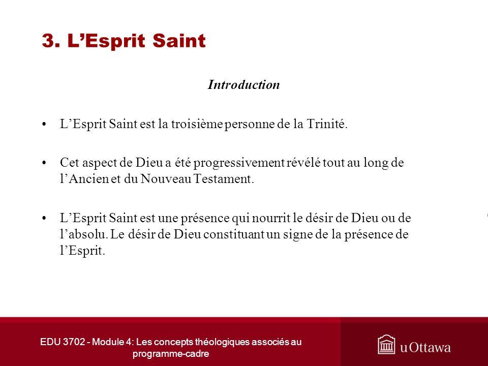 EDU 3702 - Module 4: Les concepts théologiques associés au programme-cadre 3. LEsprit Saint Introduction LEsprit Saint est la troisième personne de la