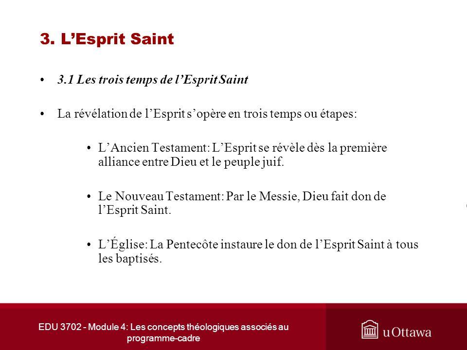 EDU 3702 - Module 4: Les concepts théologiques associés au programme-cadre 3. LEsprit Saint 3.1 Les trois temps de lEsprit Saint La révélation de lEsp