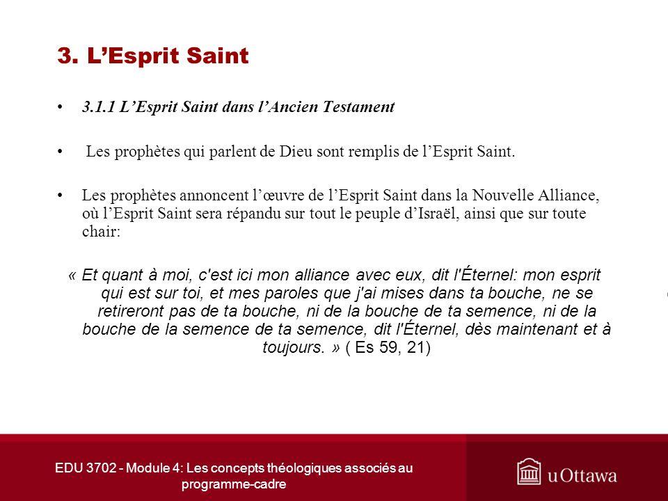 EDU 3702 - Module 4: Les concepts théologiques associés au programme-cadre 3. LEsprit Saint 3.1.1 LEsprit Saint dans lAncien Testament Les prophètes q