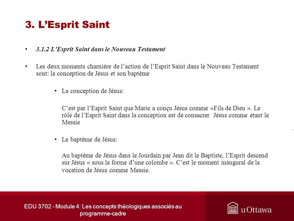 EDU 3702 - Module 4: Les concepts théologiques associés au programme-cadre 3. LEsprit Saint 3.1.2 LEsprit Saint dans le Nouveau Testament Les deux mom