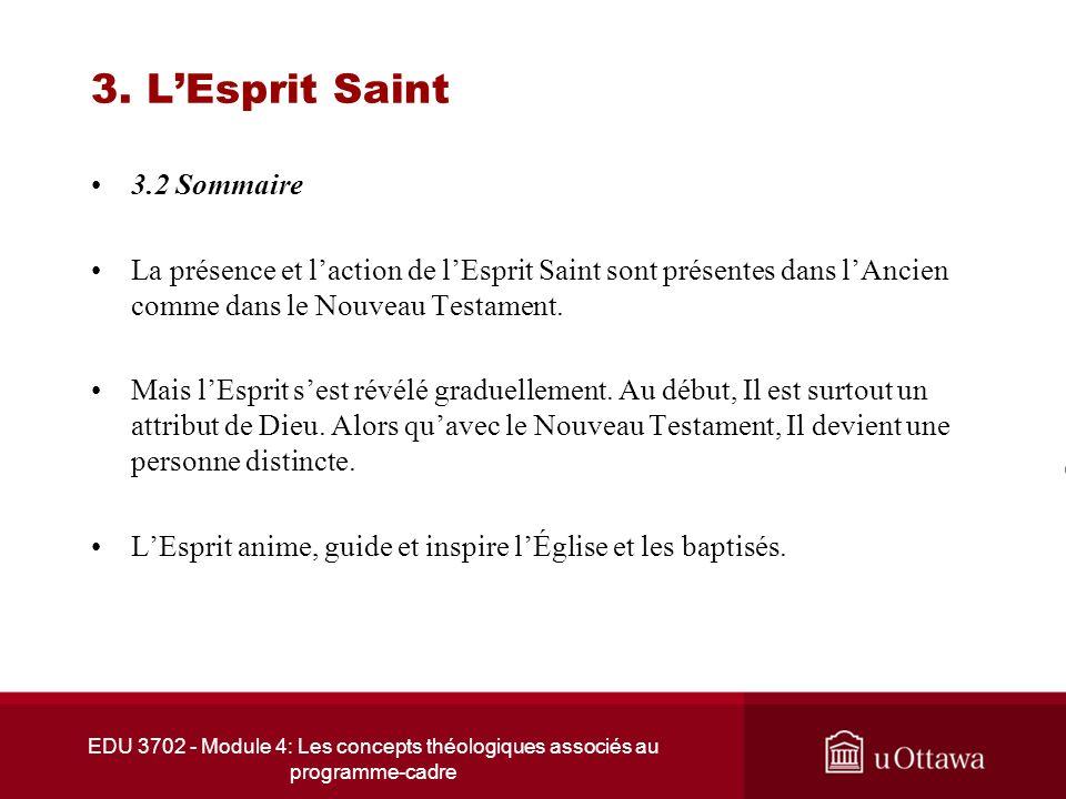 EDU 3702 - Module 4: Les concepts théologiques associés au programme-cadre 3. LEsprit Saint 3.2 Sommaire La présence et laction de lEsprit Saint sont